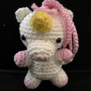 Small unicorn plush, pink sparkle hair