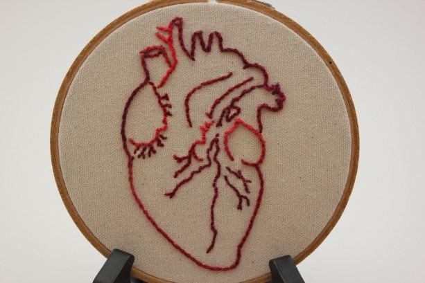 Anatomy Heart Modern Embroidery Hoop Art Aftcra