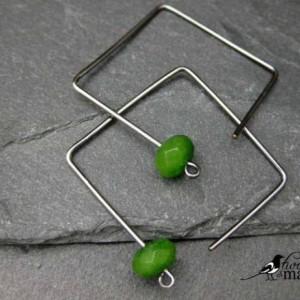 Geometric hoops - geometric earrings - square hoops - modern hoop earrings -