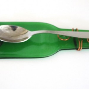 Small Glass Spoon Rest Green Flattened Beverage Bottle