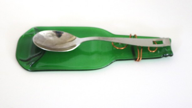 Small Glass Spoon Rest Green Flattened Beverage Bottle