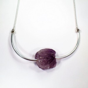 Raw Amethyst Silver Choker Natural Gemstone Jewerly Amethyst Jewelry Gemstone Choker Amethyst Necklace Adjustable Choker