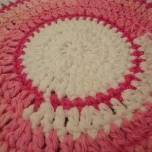 "CROCHETED DOILY & COASTERS Set - Variations of Pink and White with Ruffled Edges - One 10 1/2"" dia. Doily and Four 5 1/2"" dia. Coasters"