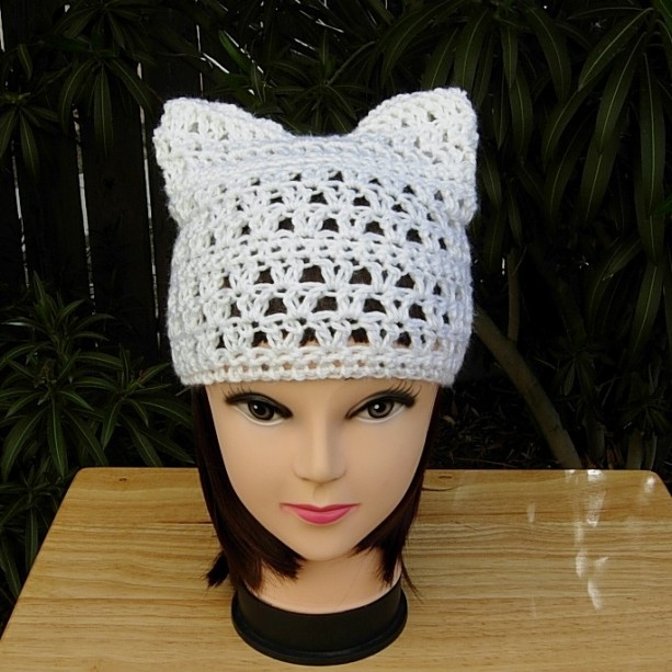 Women's Solid White Pussy Cat Hat with Ears, Summer Lacy PussyHat Lightweight Soft Acrylic Crochet Knit Thin Spring Beanie, Ready to Ship in 2 Days