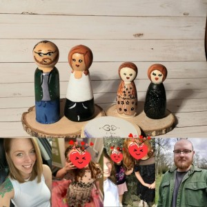 Personalized Wooden Peg  Family dolls:Custom play dolls Custom child dolls Personalized family portrait dolls, Custom Wooden Peg dolls, gift