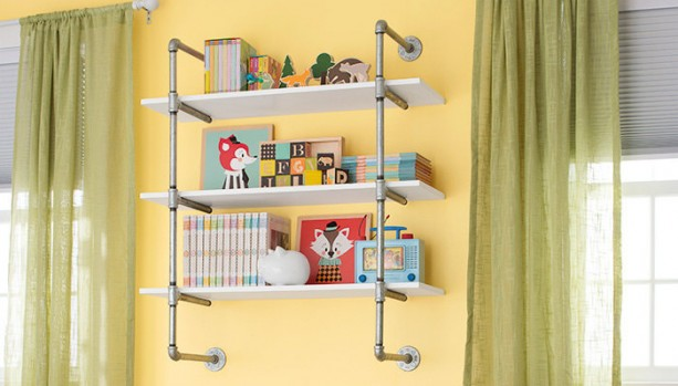 "Open Bookshelf, Wall Mounted Bookshelf, Silver Pipe-Frame Complete Pipe Parts Kit for ""DIY"" Project, Easy to Assemble, SALE!!"