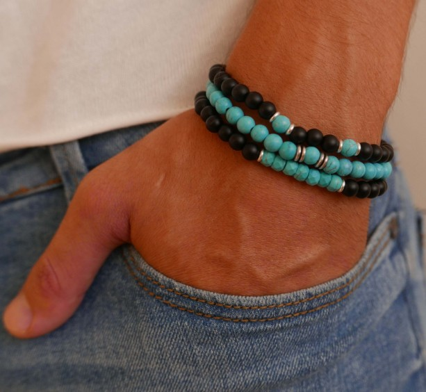 Men's Bracelet Set - Men's Beaded Bracelet - Men's Gemstone Bracelet - Men's Jewelry - Men's Gift - Husband Gift - Boyfriend Gift