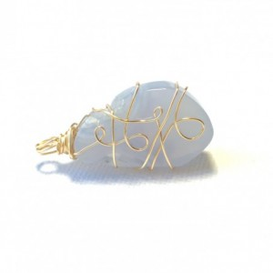 Gold Wire Wrapped Blue Geode Pendant