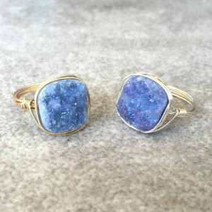 Periwinkle Square Druzy Ring