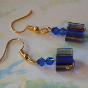 Blue Red Yellow Striped Triangle Lampwork Beads Blue Swarovski Crystal Golden Dangle Drop Earrings