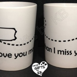 Pair of I love you more than I miss you Mugs, Long distance mug, bff mug, best friend mug, lovers mug,going away gift, love mug, custom mug