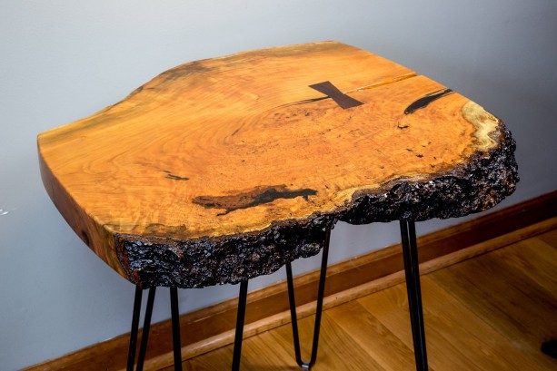 Natural Edge, Live Edge Cherry Burl End Table