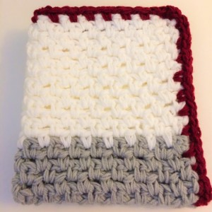 Crimson Crochet Modern Baby Blanket ... Crimson, gray and white