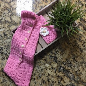 Handmade Newborn baby girl cuddle sack and matching hat