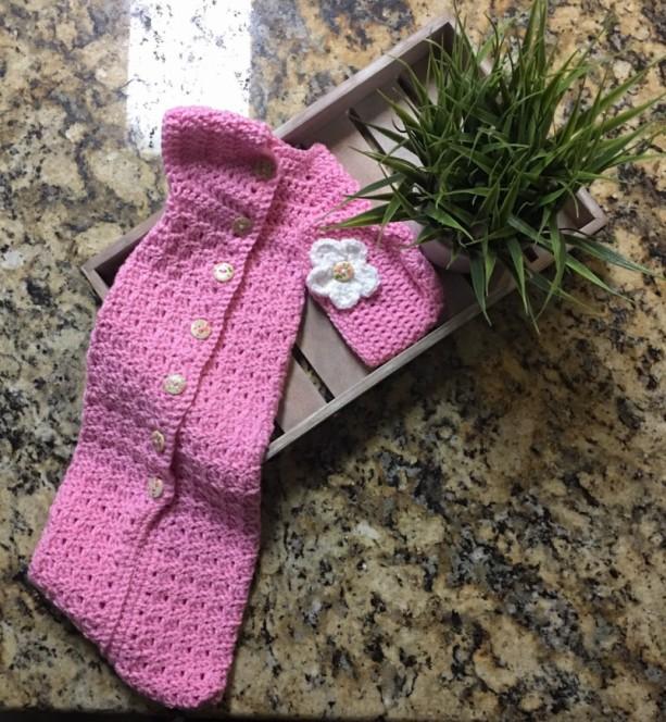 Handmade Newborn baby girl cuddle sack and matching hat