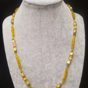 yellow and gold bead necklace