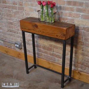 "Reclaimed Beam Entry Table - 24""  Reclaimed Wood & Metal Legs"