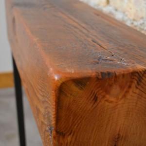 """Reclaimed Beam Entry Table - 24""""  Reclaimed Wood & Metal Legs"""