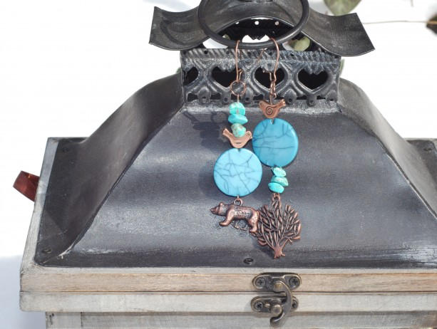 Asymmetrical/Mismatched Woodland Animals with Bronze Birds and Turquoise Beads