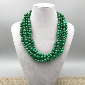 """Chunky Green Malachite Necklace - 18"""", Green Necklace, Green Beaded Necklace, Multi Strand Green Statement Necklace, Turquoise Jewelry Necklace"""