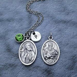 Personalized Silver Plated Apostles Peter &  Paul Necklace