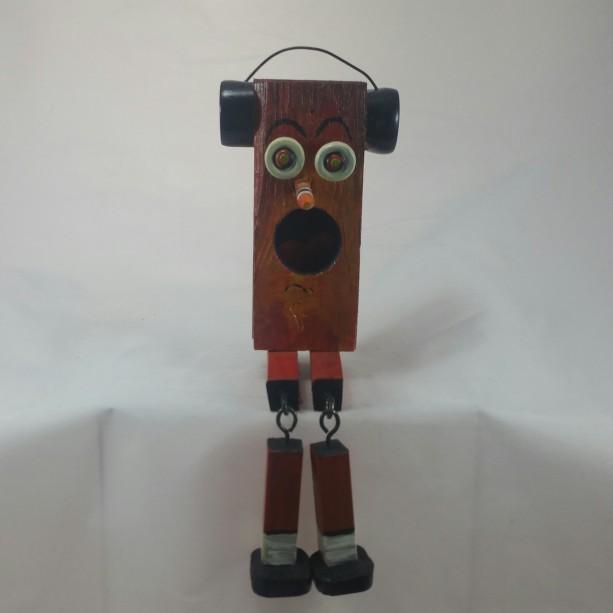 Block Head Character Ear Phone Guy