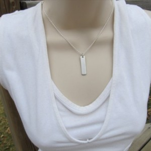 "Little Sister Necklace-brushed silver rectangle with ""little sis"" and an accent bead of choice- Personalized Gift"