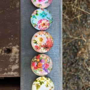 Floral Magnet Set (Set of 5)-glass dome- roses, violets, Kühlschrank, Цветы, magnete, aimant,magneet, magnético, imán, maighnéad,магнит