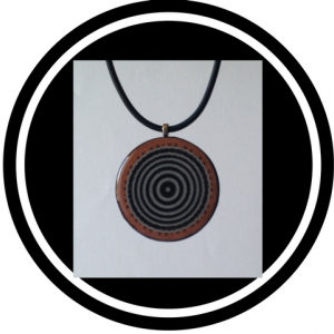 Handcrafted necklace - black and white circles with orange rim pendant bead necklace