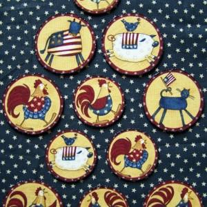 Set of 11 Patriotic Folk Art Refrigerator Magnets