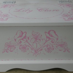 Pink Lily Toile baby keepsake chest memory box personalized baby gift