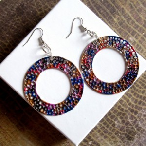 Large Hoop Earrings, Circle Earrings, Round Earrings, Disc earrings, Colorful Earrings, Statement Earrings, Psychedelic Earrings, New Wave