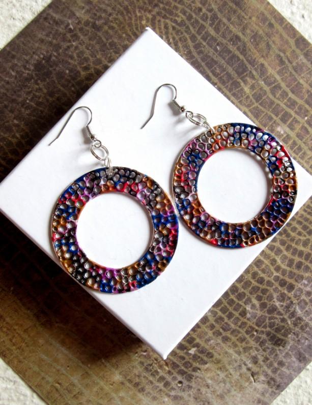 Large Hoop Earrings, Circle Earrings, Round Earrings, Disc earrings, Colorful Earrings, Statement Earrings, Psychedelic Earrings, New Wave
