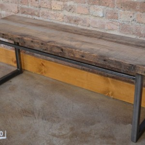 "Bench - 48""  Reclaimed Wood & Metal Legs"