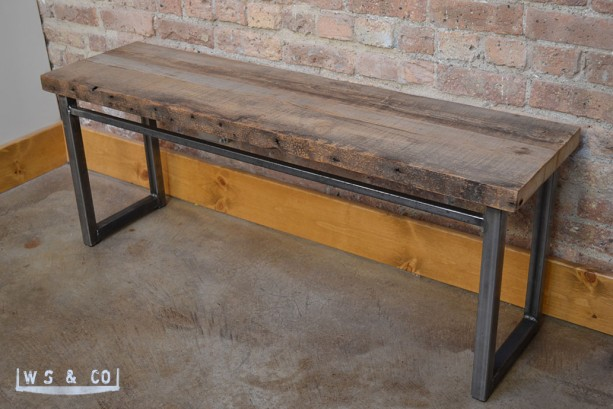 "Bench - 48""  Reclaimed Wood & Metal Legs"
