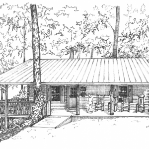 House portrait hand drawn in ink