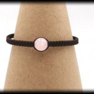 Chocolate Brown Macrame Rose Quartz Bracelet
