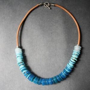 Glass Beaded Necklace - Light Blue Sky Lampwork Discs