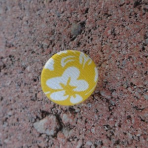 Yellow and White Floral Stud Button Earrings