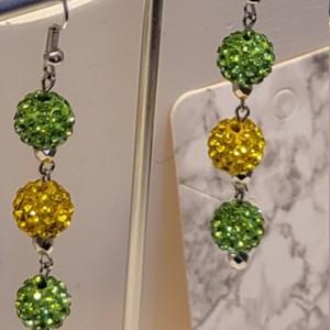 Green and yellow rhinestone earrings