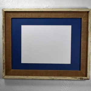 Barnwood picture frame 9x12 dark blue mat with glass mat 20 mat colors