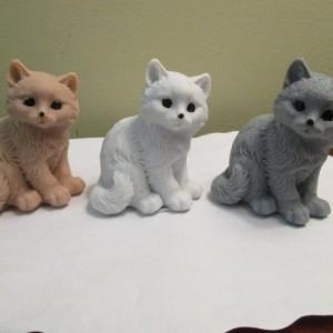 Kitten Cat Soap Kittens Set of 3, Brown, Gray, White Handmade