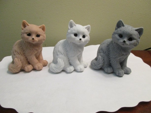 Kitten Cat Soap Kittens Set of 3, Brown, Gray, White Handmade