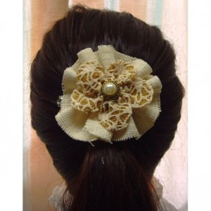 Natural Burlap Flower Hair Barrette w/Pearl accents - Rustic Country Shabby chick for Women
