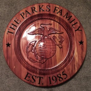 Marine Corp personalized/customized Cedar wood sign.