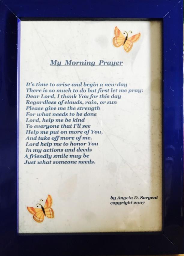 My Morning Prayer framed poem