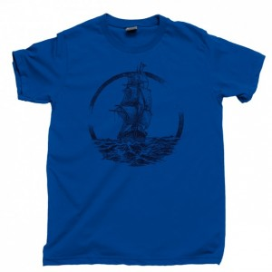 Ship Sailing The Ocean Seas Men's T Shirt, Pirate Ship Captain Boat Sailors Sail Nautical Unisex Cotton Tee Shirt