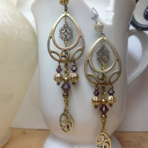 Gypsy-Inspired Bohemian Chandelier Earrings - Brass & Purple Tones