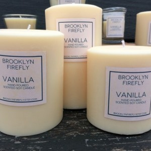 Vanilla Candles. FREE SHIPPING. Scented Soy. Set Of 3 Pillars.