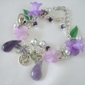 Lavender Flower Pentacle Charm Bracelet